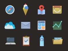 Colorful icons (PSD included) designed by Pele Saeng-a-loon Chaengsavang. Flat Design Icons, Icon Design, Web Design, Logo Design, Graphic Design, Flat Icons, Website Icons, Typography Logo, Minimalism