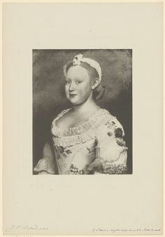 Portrait of Carolina, Princess of Orange-Nassau. Engraving by Anonymous, based on an original painting by Jean-Etienne Liotard.