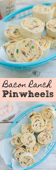 Chicken Bacon Ranch Pinwheels - ranch cream cheese, deli chicken, bacon, cheddar cheese, and green onions are wrapped in a flour tortilla! Slice them up for a delicious kid-friendly lunch!