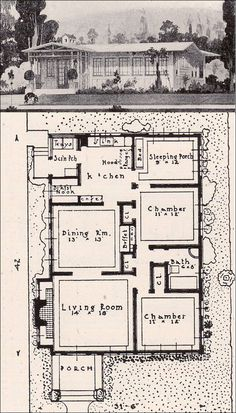 1916 Prairie Style California Bungalow - American Residential Architecture - Garden City Company of California House Plans One Story, Best House Plans, Country House Plans, Modern House Plans, Small House Plans, Bungalow Floor Plans, Ranch House Plans, Craftsman House Plans, Vintage House Plans