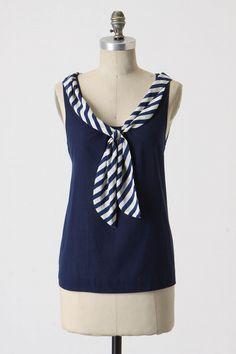 Nautical Shirt from Anthropologie Nautical Shirt, Diy Clothing, Sewing Clothes, Summer Clothing, Shirt Refashion, Altering Clothes, Blouse Styles, Diy Fashion, Womens Fashion