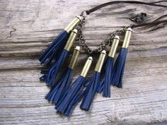 Bullet Necklace Midnight Blue Leather Statement by lillianschmoo, $49.95