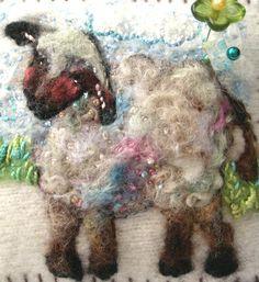 Wool Pincushion Mary Had a Little Lamb Pincushion by fiberluscious