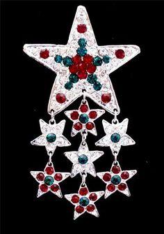 Eisenberg Ice Ruby Red Emerald Green Rhinestone Star Christmas Vintage Brooch | eBay