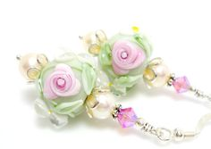 Floral Lampwork Earrings Mint Green Rose Pink by BeadzandMore, $33.00