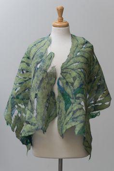 Nuno felted scarf, felted scarf, felt scarf, Nuno felt, silk scarf, wool, silk, Green, Navy blue, Purple, leaf pattern, delicate