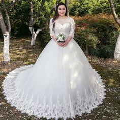 Wedding dress 2017 new summer new arrival princess bride pregnant woman Qi word word fat MM wedding long tail