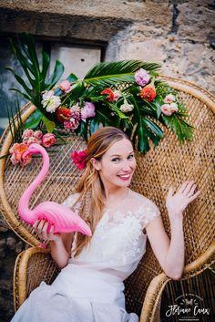 Mariage Tropicool : ananas et Flamingo. Photographe : Floriane Caux