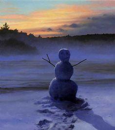 """Scott Prior, Snowman, 2012, oil on panel, 6 x 5 1/4""""  at William Baczek Fine Arts  www.wbfinearts.com"""