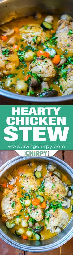 Hearty Chicken Stew - a warm and cozy meal, perfect comfort food for a chilly day. Low-carb if you forego the baby potatoes.
