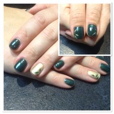 Shellac nails  with hand painted leaf detail