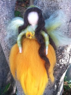 Sun Flower Waldorf Fairy by thewoolengnome on Etsy