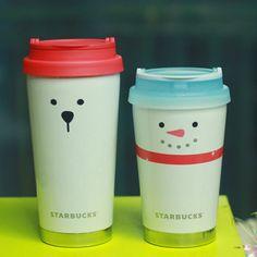 2015 Korea Starbucks Christmas SS Elma Snowmans 355ml SS Elma Polar Bear 473ml #Starbucks