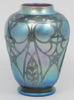 LOETZ BLUE IRIDESCENT ART GLASS SILVER OVERLAY VASE