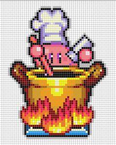 Kirby Cooking Perler Pixel Art Video Game Perler Beads, Perler Bead Art, Fuse Beads, Minecraft Pattern, Pixel Pattern, Minecraft Pixel Art, Hama Beads Patterns, Beading Patterns, Beaded Cross Stitch