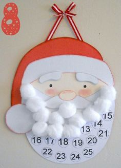 "Santa Countdown to Christmas. Can us this in the classroom for a ""santa countdown to Christmas VACATION! Kids Crafts, Christmas Crafts For Kids, Christmas Projects, Holiday Crafts, Christmas Decorations, Christmas Ideas, Christmas Pictures, Easy Crafts, Cheap Christmas"