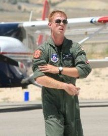 Civil Air Patrol. Major William Fitzpatrick departs from a Cessna 182 at Farmington, New Mexico after a flying mission.