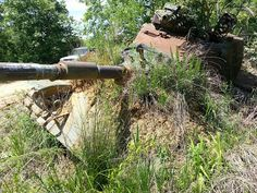 Tanks at Fort Knox, Kentucky - A final front view of this M-60.  It is buried quite deeply in the dirt.