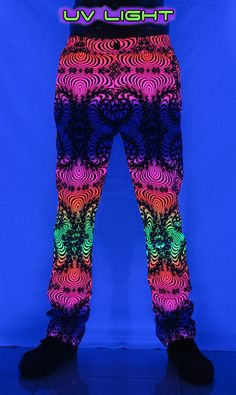 Chillout Pants : Rainbow Fractal  Unisex chillout pants.  Chill in style !  Super comfy pants for those chill times. Can be worn at home or out and about.  Made from a soft fleece fabric with a semi-elasticated waist for a great fit.  UV active !  Button and zip front closing.  2 Side pockets & 2 back pockets.   100% cotton fleece.  Artwork by Space Tribe Cotton Fleece, Fleece Fabric, Comfy Pants, Long Shorts, Chill, Harem Pants, Rainbow, Pockets, Unisex
