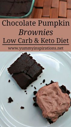 Low Carb Chocolate Pumpkin Brownies Recipe - Flourless Brownies which are keto, paleo and gluten free friendly. A healthy and delicious way to enjoy pumpkin.