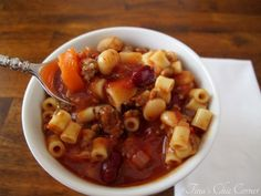 Pasta e Fagioli - lean ground beef - small onion - carrot - celery - 2 garlic cloves - 28 oz. can crushed tomatoes - 2 cans tomato sauce - 15 ox. beef broth - 15 oz. red kidney beans - 15 oz. white kidney beans - dried oregano - dried basil - dried thyme - ditalini pasta