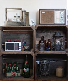 vintage wooden crates. storage. decor. cajas de madera. vintage. almacenaje. www.yourbox.bigcartel.com