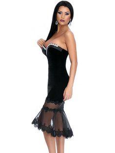 Sexy sweetheart neckline mesh patchwork mini dress YR-60873