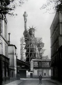 The Statue of Liberty in Paris 1886, before it was disassembled and crated for its voyage to New York.  #Paris
