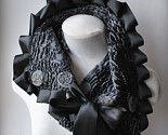 Scarf/ Cowl /Collar METAMORPHOSIS Faux Chinchilla Fur Beaded Convertible Felted Loops, Ribbon, Grey Brown,