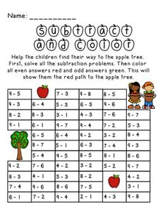 Apple Picking Subtract and Color Activity- perfect for fall or any apple themed unit. appl theme, appl pick