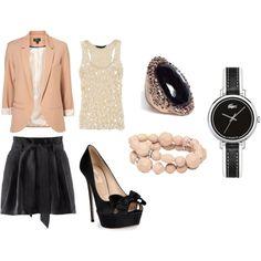 peach/black, created by #ashleyo16 on #polyvore. #fashion #style #Topshop H&M