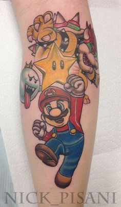 Super Mario Bros tattoo done by Nick Pisani at Boulevard Electric in Wayne NJ