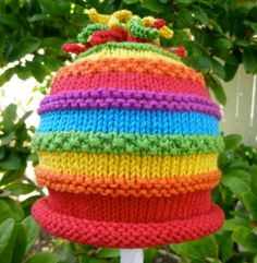Hand Knit Baby Hat Rainbow Colors And by HollyLaneTreasures, $36.00