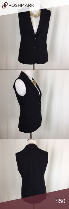 Trina Turk black vest Gorgeous Trina Turk Black vest in great pre owned condition. No rips or stains. Two button closure. Buttons have Trina on them. Size 6. Cotton  Would look great with distressed boyfriend jeans and heels. Pit to Pit: 18 Trina Turk Jackets & Coats Vests