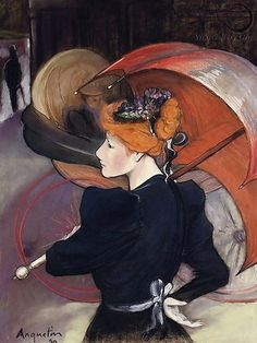 The Athenaeum - Woman with Umbrella (Louis Anquetin - No dates listed)