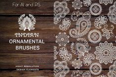 Ad: Ethnic Indian Ornamental Brushes by Della_Liner on FOR ILLUSTRATOR AND PHOTOSHOP Set of 12 ornamental brushes in indian ethnic style. Set of henna elements based on traditional Asian elements Ethnic Wedding, Photoshop Brushes, Photoshop Actions, Graphic Design Projects, Business Illustration, Mandala Pattern, Creative Sketches, Photoshop Elements, Wedding Sets