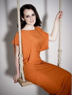 Sophie McShera plays Daisy the maid on Downton Abbey Curvy Women Outfits, Clothes For Women, Sophie Mcshera, Rob James Collier, Downton Abbey Cast, Maggie Smith, Orange Dress, Woman Face, Actors & Actresses