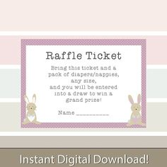 Printable Baby Shower Pink Bunny and Stork Diaper/Nappy Raffle Ticket Invitation Inserts. Print as many as you need! Give your guests a