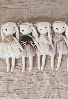 Handmade Linen Bunny Dolls by lespetitesmainss on Etsy