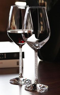 <3 Pin it and win a trip to New York, Barcelona, Berlin, Rome or London. - Swarovski Crystalline Red Wine Glasses, Pair