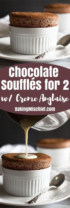 Chocolate Souffles for Two with Creme Anglaise are a perfect make ahead date night dessert. From http://BakingMischief.com