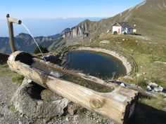 Fountain in the Swiss Alps.  Leysin, Switzerland.