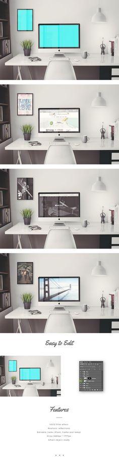 "Free #PSD #Mockup: iMac 5K Retina 27"" Office by Mats-Peter Forss"