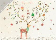 Mit kleinen Tannenbäumchen, Christbaumkugeln, vielen Sternen und kleinen Geschenken ist das Geweih des Rentiers liebevoll geschmückt. Turnowsky Weihnachtskarte zum Frohen Fest