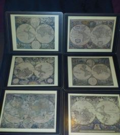 Set of Six Vintage Pimpernel Cork Backed Old World Map Placemats Made In England #Pimpernel