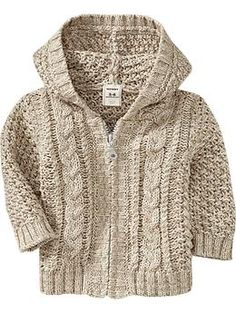 hooded cable knit sweater for baby! imagining it with dark brown courds. . .