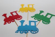 24 Large Train Cupcake Toppers on Etsy, $4.95. Ordered Oct 2013--- love them. They are perfect. Pic makes them look bigger than they are.