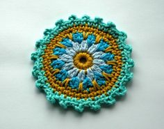 Crochet Embellishment in   Blue and Mustard x 4   by AnnieDesign