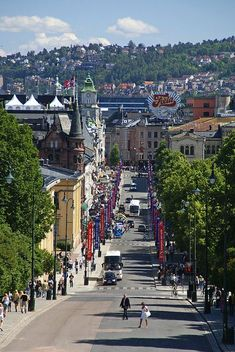 Karl Johans Gate, From the Royal Palace, Oslo, Norway. Looking forward to visiting Oslo on Baltic Cruise in August. Places Around The World, Travel Around The World, Around The Worlds, Wonderful Places, Beautiful Places, Places To Travel, Places To Visit, Norway Oslo, Beautiful Norway