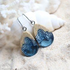 Unique dangle earrings handmade from beach sand and aqua blue resin Aqua Blue, High Gloss, Earrings Handmade, Dangle Earrings, Dangles, Resin, Metal, Beach, Unique